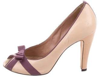 Marc by Marc Jacobs Peep-Toe Bow Pumps