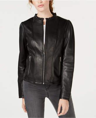Maison Jules Ruffled Peplum Leather Jacket