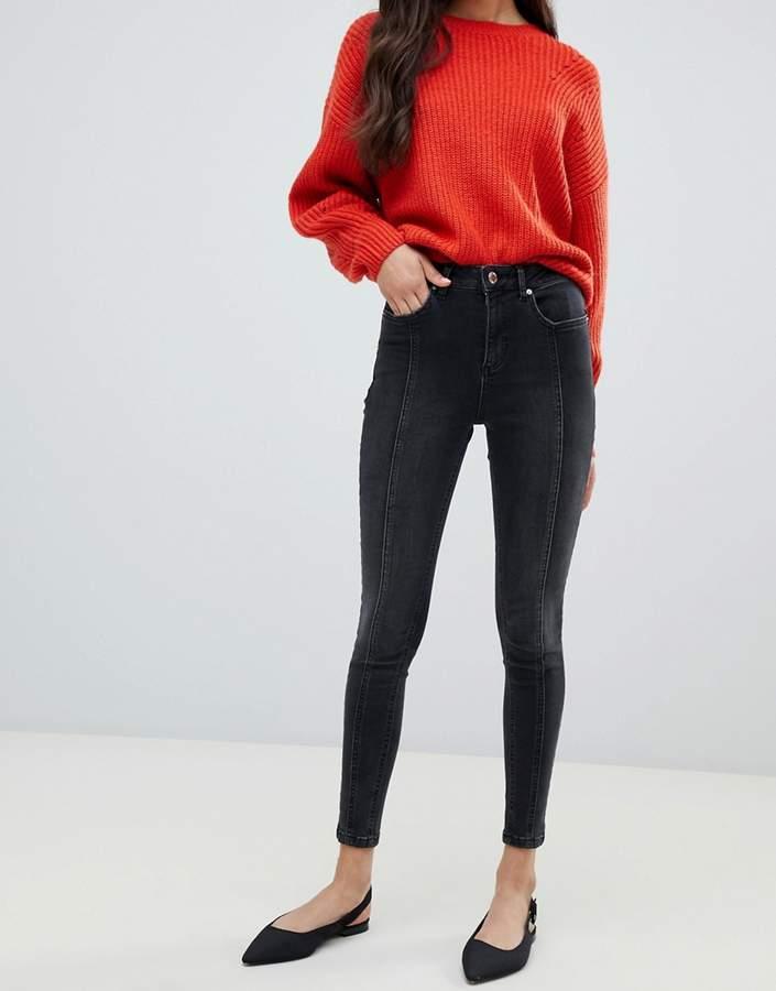 front seam skinny jeans in black