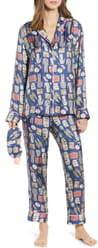 cjw Netflix & Chill Silk Blend Pajamas & Eye Mask