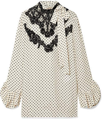 Valentino Lace-trimmed Polka-dot Silk-georgette Blouse