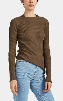 Helmut Lang Women's Rib-Knit Cotton Fitted Top - Dk. Green