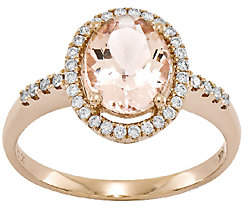 QVC 1.55 cttw Oval Morganite & 1/5 cttw Diamond Hal