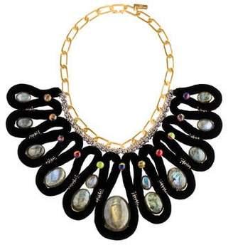 Louis Vuitton Velvet and Labradorite Collar Necklace