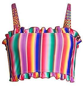 All Things Mochi Women's Louise Rainbow Stripe Ruffled Bikini Top
