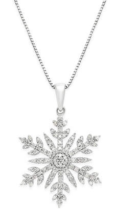 Macy's Diamond (1/3 ct. t.w.) Snowflake Adjustable Pendant Necklace in Sterling Silver