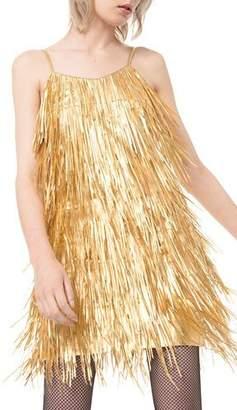 Michael Kors Metallic Fringed-Leather Slip Dress