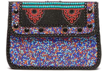 Ricki Designs Beaded Medallion Fold Over Crossbody Bag