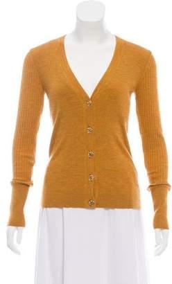 Tory Burch Rib Knit Long Sleeve Cardigan