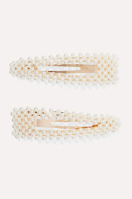 Loeffler Randall Set Of Two Gold-tone Faux Pearl Hair Clips