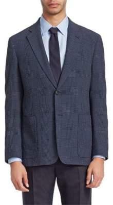 Emporio Armani Seersucker Plaid Wool Blazer