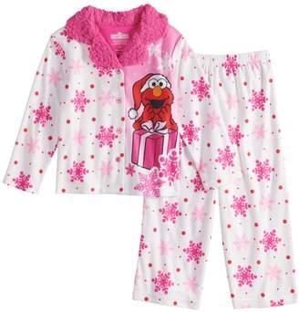a6968bd061 Toddler Girl Sesame Street Elmo Christmas Top   Bottoms Pajama Set