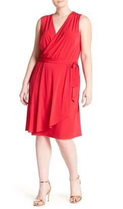 London Times Matter Jersey Faux Wrap Dress (Plus Size)