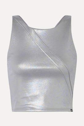 Koral Point Cropped Iridescent Stretch-scuba Top - Silver