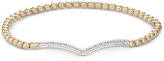 Wrapped Diamond Chevron Stretch Bead Bracelet (1/6 ct. t.w.) in 14k Gold over Sterling Silver, Created for Macy's