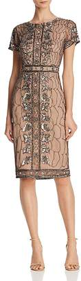 Adrianna Papell Embellished Short-Sleeve Dress
