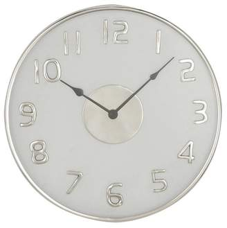 Brimfield & May Contemporary Round White Stainless Steel Wall Clock