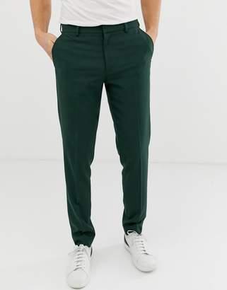 Asos Design DESIGN skinny smart pants in dark green