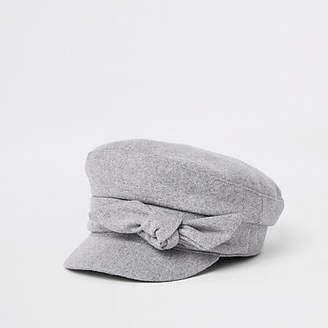 River Island Grey bow detail baker boy hat