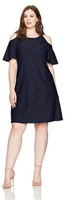 Gabby Skye Women's Plus Size Full Figured Solid Cold Shoulder Shift Dress