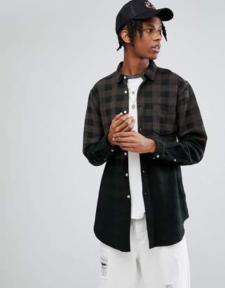 Asos Design Oversized Longline Buffalo Check Shirt With Ombre Effect