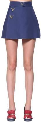 Valentino Logo Silk & Wool Cady Shorts