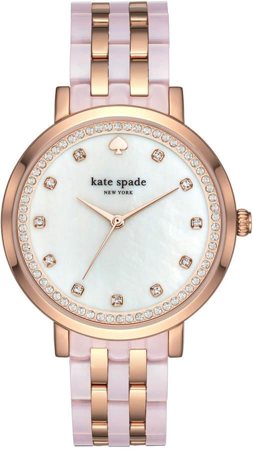 Kate Spadekate spade new york Women's Monterey Rose Gold-Tone Stainless Steel and Blush Pink Acetate Bracelet Watch 38mm KSW1264