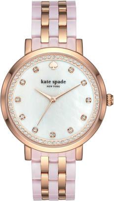 Kate Spade Women's Monterey Rose Gold-Tone Stainless Steel and Blush Pink Acetate Bracelet Watch 38mm KSW1264