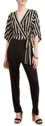 Almost Famous Juniors' Wrap Jumpsuit with Kimono Sleeve