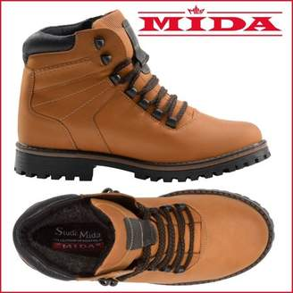 Mida MIDA Menas Winter Boots: Leather And Fur Waterproof Snow Shoes, Non-Slip OC SystemSole, Safety Ice Footwear, Warm And Comfortable