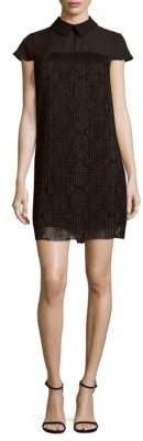 Lace Cap-Sleeve Shift Dress