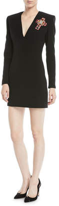 Versace Deep-V Long-Sleeve Cross-Embellished Silk Cocktail Dress