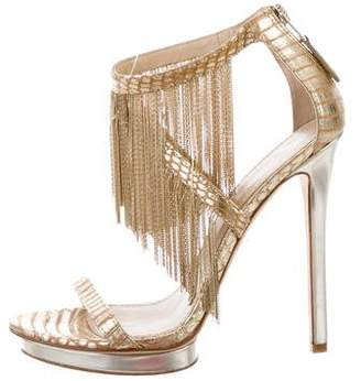 Brian Atwood Leather Fringe Sandals