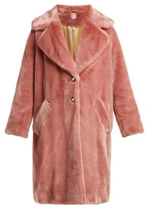 Shrimps - Eamon Crystal Buttoned Faux Fur Coat - Womens - Pink
