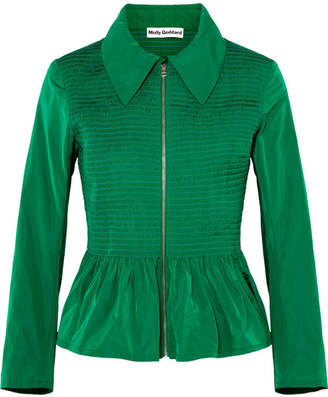 Molly Goddard Lillian Shirred Taffeta Peplum Jacket - Forest green