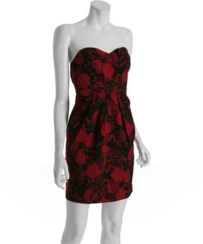 YaYa Aflalo maroon floral 'Estella' strapless dress
