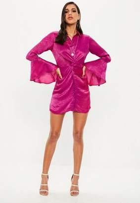 Missguided Pink Hammered Satin Twist Waist Dress