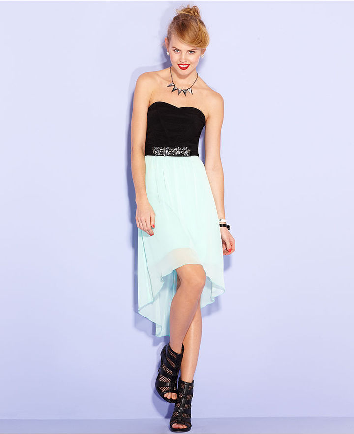 Ruby Rox Juniors Dress, Strapless Colorblock High-Low