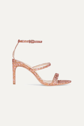 Sophia Webster Rosalind Leopard-print Glittered Lurex Sandals - Pink
