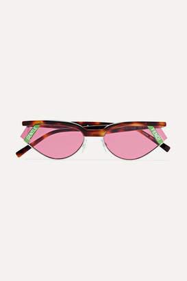Fendi Gentle Cat-eye Tortoisehell Acetate And Silver-tone Sunglasses