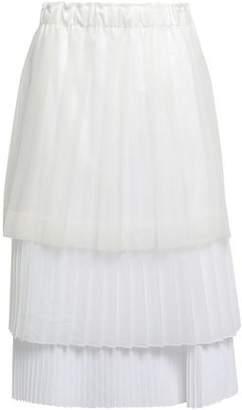 Brunello Cucinelli Tiered Pleated Coated-tulle, Organza And Poplin Midi Skirt