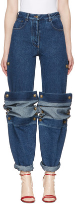 Y/Project Navy Cufflink Jeans $585 thestylecure.com