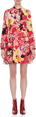 Atos Lombardini Floral Tie-Neck Dress