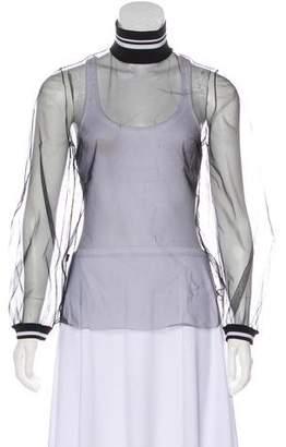 Mother of Pearl Semi-Sheer Long Sleeve Top
