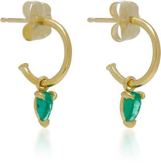 Ila Kinsley 14K Gold and Emerald Hoop Earrings