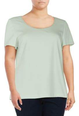 Lafayette 148 New York Plus Short-Sleeve Scoopneck Top