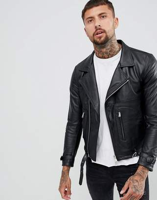Replay leather biker jacket zip detail in black