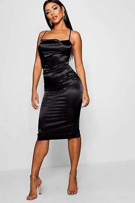 boohoo NEW Womens Cowl Front Satin Midi Dress in Polyester 3% Elastane