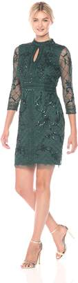 Adrianna Papell Women's Long Sleeve Fully Beaded Cocktail Dress with Grid Pattern