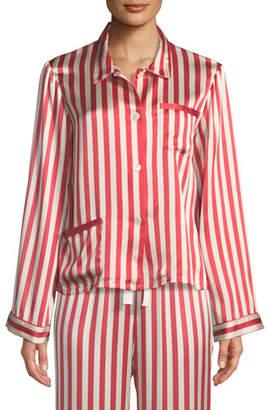 Americana Morgan Lane Ruthie Long-Sleeve Striped Silk Pajama Top